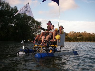 Sometimes we go boating on the world's first tall amphibious couchbike...